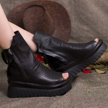 2015 Retro Style Cut Outs Platform Women Ankle Boots Peep Toes Genuine Leather Shoes Woman Summer Cool Boots Double Zip