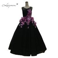 Настоящие образцы Черное вечернее платье 2019 элегантное Пышное Бальное Платье 3D с цветочной аппликацией вечернее платье De Soiree Courte/RE36