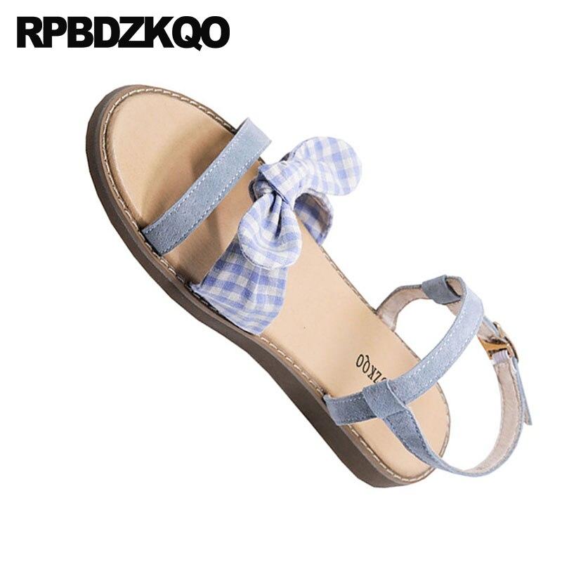 a80e8d97f294 ... Plaid Bow Gingham Cute Gladiator Two Strap 2018 Korean Shoes Bowtie  Flat Roman Blue Women Designer