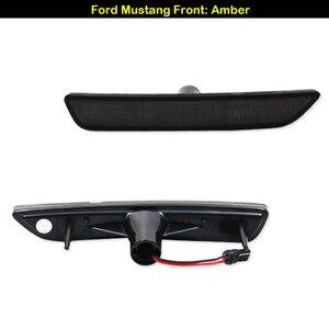 Image 3 - IJDM dla samochodów Mustang LED bursztynowe/czerwone pełne boczne światła sygnalizacyjne dla 2010 2014 Ford Mustang przednie i tylne lampy LED sidemarker 12V