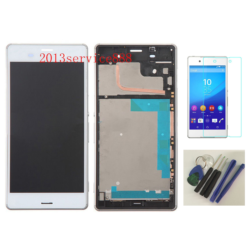 OEM 100 % Test LCD Screen and Digitizer Assembly with Front Housing For Sony Xperia Z3 White+With free tools
