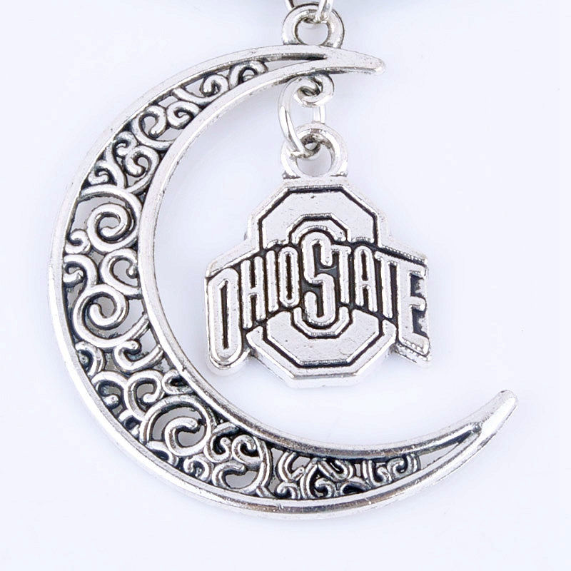 Antique silver plated crescent moon ohio state charm leather chain antique silver plated crescent moon ohio state charm leather chain necklace new fashion women jewelry pendant necklace xy160267 in pendant necklaces from aloadofball Gallery