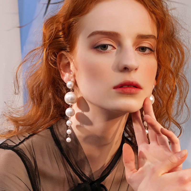 Trendy Elegant Created Big Simulated Pearl Long Earrings Pearls String Statement Drop Earrings For Women Wedding Party Gift