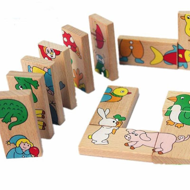 28pcs/Set Baby Kids Animals Domino Building Blocks Cartoon Wooden Blocks Montessori Intelligence Toy for Children New Year Gift xizai connection blocks cartoon building toy big size kitty assembly educational intelligence blocks melody for children gift