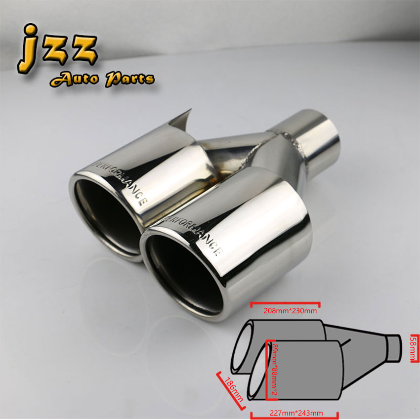 1Pcs 58mm inlet Car Exhaust Pipe Universal Dual Performance Exhaust Rear Pipe Auto Accessories Exhaust System end tips civic