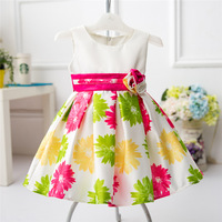 Casual Cotton Baby Girl Christmas Dress Flower Print Pattern Cute Newborn Xmas Party Dresses Clothes Infant