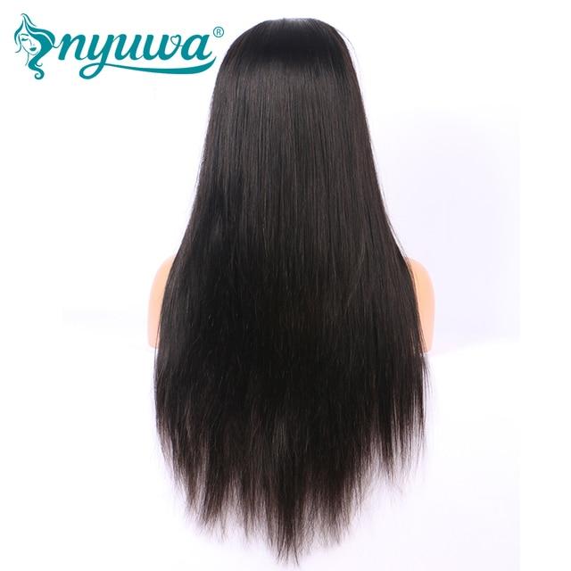 NYUWA Droite Avant de Lacet Perruques de Cheveux Humains Pré Pincées Avec bébé Cheveux Sans Colle Avant de Lacet Perruques Noeuds Blanchis Brésiliens Remy cheveux 3