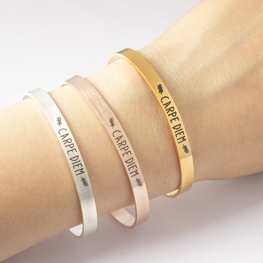 Stainless Steel Manchette Bracelet Femme Carpe Diem Lettering Bangle Women Men Jewelry Fashion Gold Silver Pulseras
