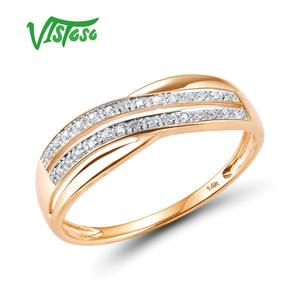 VISTOSO Genuine 14K 585 Rose Gold Chic Rings For Lady Sparkling Diamond Engagement Anniversary Simple Style Eternal Fine Jewelry(China)