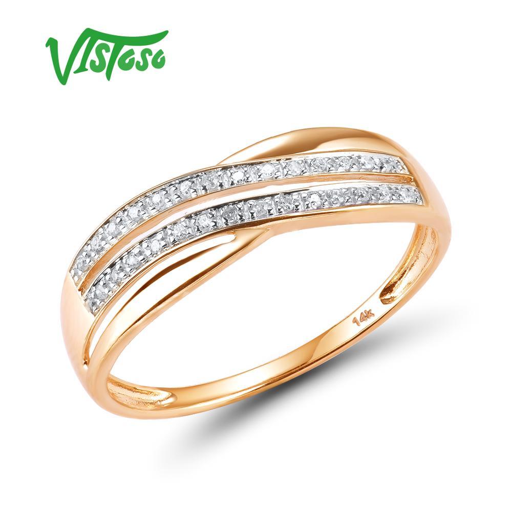 VISTOSO genuino 14 K 585 oro rosa Chic anillos para dama brillante diamante compromiso aniversario Simple estilo eterno joyería fina-in Anillos from Joyería y accesorios    1
