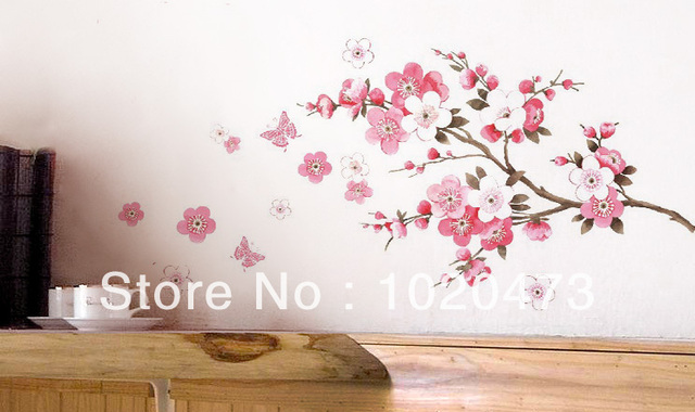 Aliexpress buy free shipping pink sakura flower cherry blossom free shipping pink sakura flower cherry blossom kitchen decor diy wall art home decal wallpaper kitchen mightylinksfo
