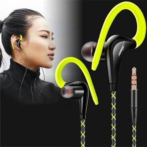 Image 2 - 3.5mm 귀에 매달려 스포츠 이어폰 1.25 m 귀고리 유선 헤드폰 아이폰에 대 한 스마트 폰 in ear 방수 헤드셋 마이크
