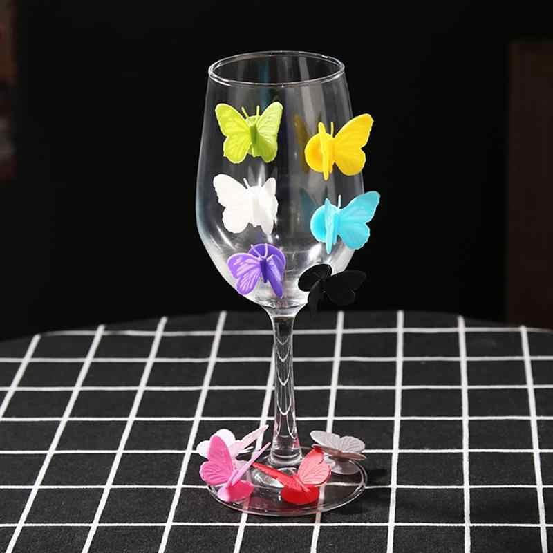 Silicona mariposa partido vino vidrio marcador encantos beber taza amigo identificación taza identificador etiquetas