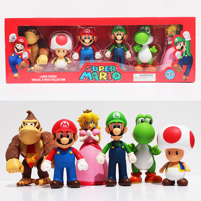6pcs Set Super Mario Bros Peach Toad Mario Luigi Yoshi