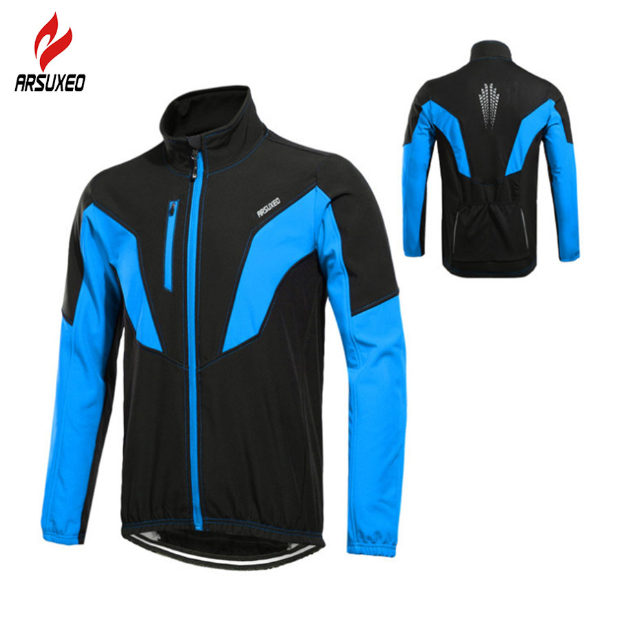 ARSUXEO Winter Cycling Jacket Thermal Warm Up Men Shell Softshell Cycling Windproof Jacket Bicycle Sports Coat