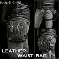 Women/Men Retro Black Leather Steampunk Thigh Holster  Travel Mini Waist Bag Wallet Purse Phone Packs