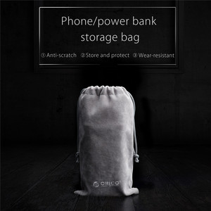 Image 2 - ORICO Velvet 180x100mm Mobile Phone HDD Bag Storage for USB Charger USB Cable Power Bank Phone storage box case Gray Color