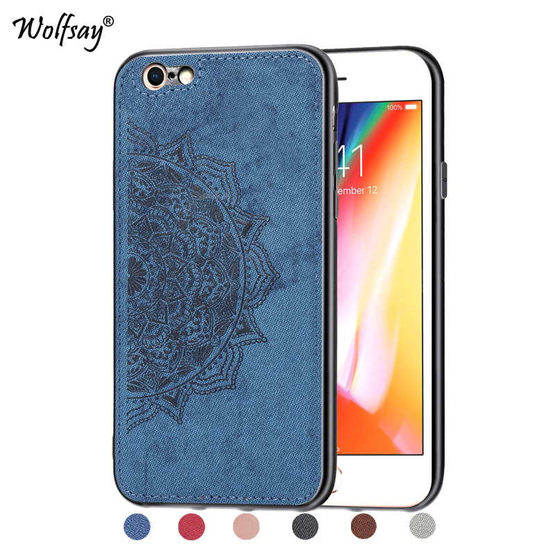 For iPhone 6s Plus Shockproof Soft TPU Cloth Texture Hard Phone Case 6 Cover Apple Shell