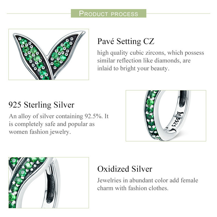 HTB1Ge6acbuWBuNjSszgq6z8jVXab BAMOER 100% 925 Sterling Silver Spring Collection Flower Buds Green CZ Hoop Earrings for Women Sterling Silver Jewelry SCE295