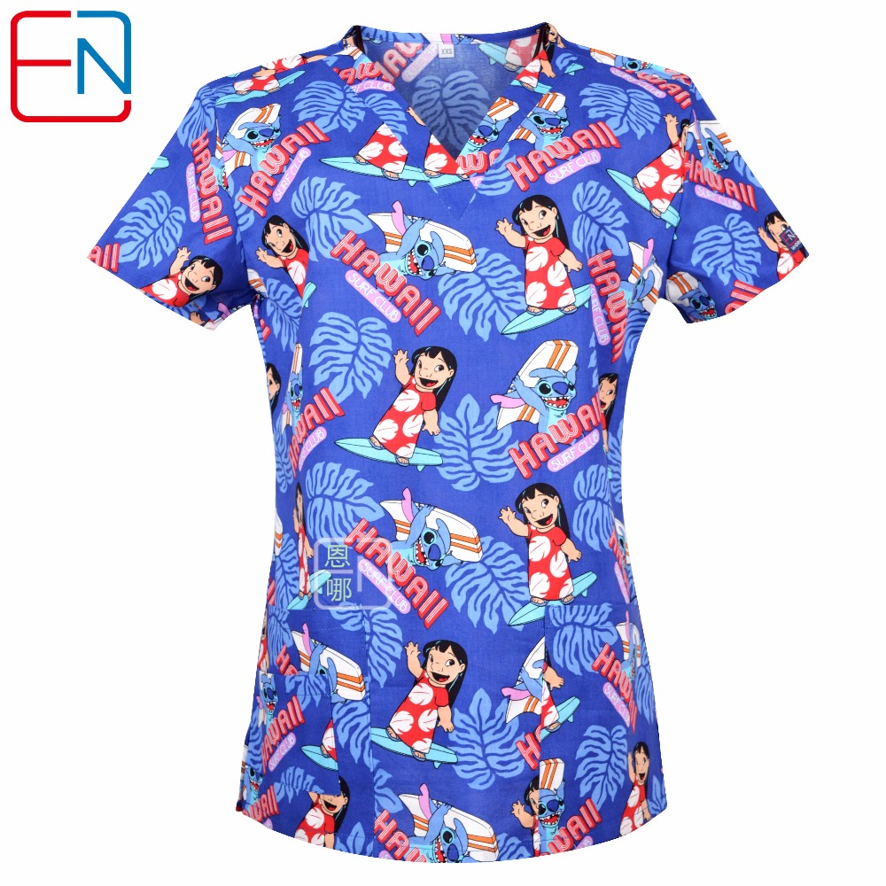 Hennar women scrub top with V neck 100% cotton surgical scrubs top