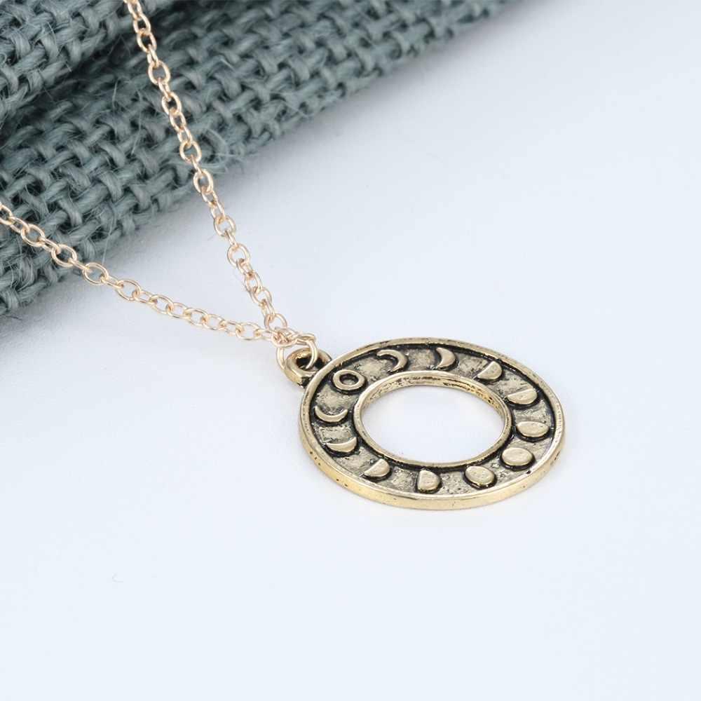 Antique argent or Phases de lune pendentif collier astrologie Punk charme en acier inoxydable Invisible chaîne bavoir Chokers bijoux