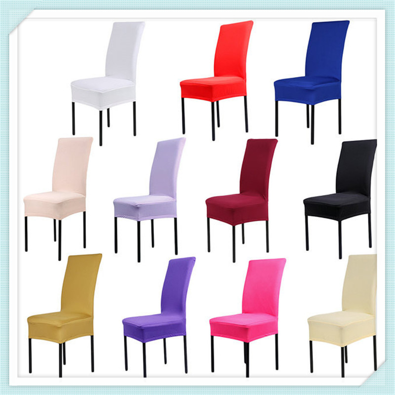Free Shipping 4PCS Home Spandex Dining Chair Cover Wedding Decoration Solid Colors Polyester