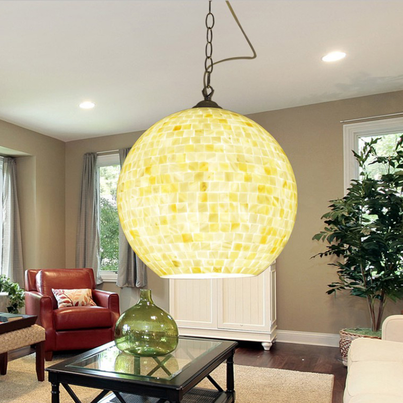 Bohemia dining  shell glass lamp shade aisle dining room single head pendant lamp study Restaurant