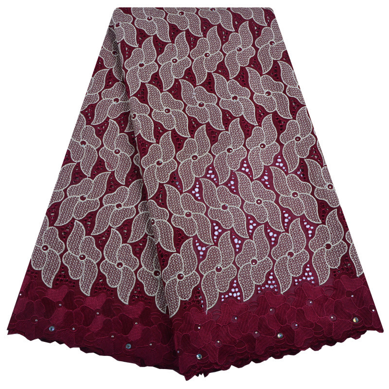 High Quality Dry Cotton Lace 2019 Latest Design With Stone Swiss Voile Lace In Switzerland For