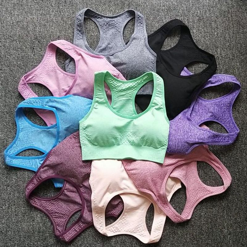 9 Colors Women Seamless Fitness Sports Bra Running Workout  Yoga Bra Wide Straps Energy Fitness Workout Tops Sportswear Bra