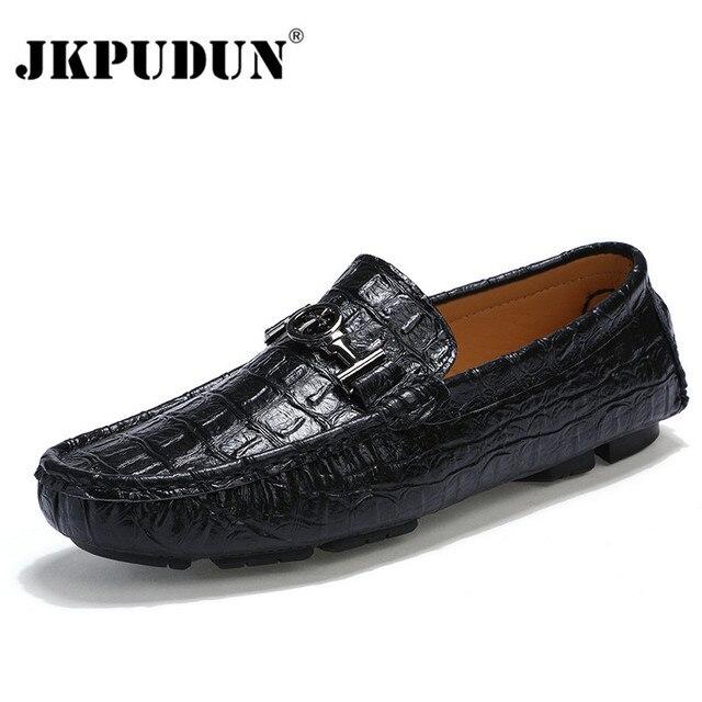 75dc9a118d5e7 JKPUDUN Cocodrilo Hombres de Cuero Mocasines Mocasines Italianos Negro  Ocasional Zapatos de Los Hombres de la