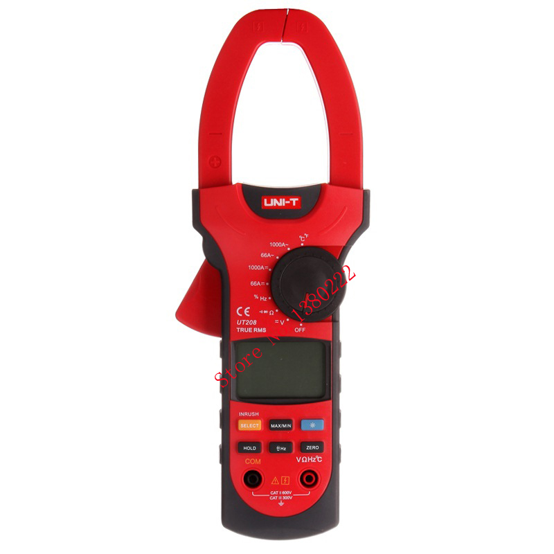 UNI-T UT208 Professional True-RMS LCD Multifuction Digital Clamp Meter Multimeter Ohm DMM DC AC Voltmeter AC Ammeter Data Hold