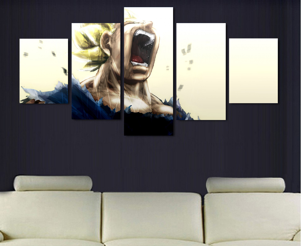 5 Pieces Canvas Art Printed Vegeta Dragon Ball Z Super Saiyan Printing Room Decor Print Poster Picture Animation J0220 In Painting Calligraphy From