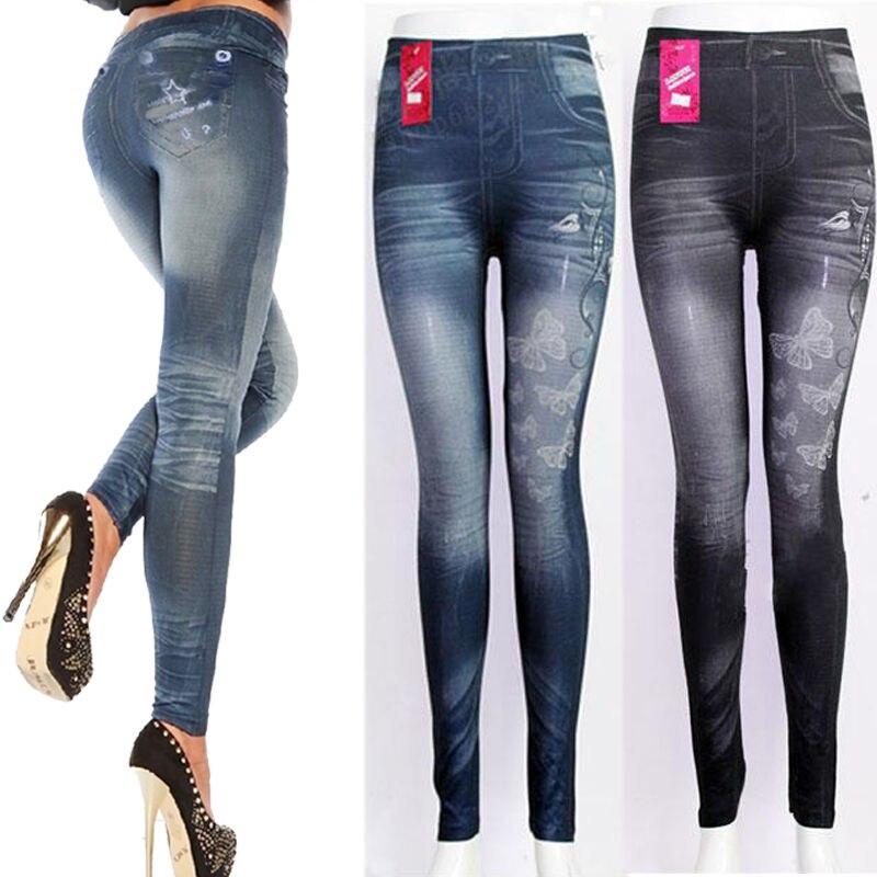2016 New Spring Sexy Women Fake Denim Leggings Fashion Jeans Skinny Jeggings Stretchy Slim ...