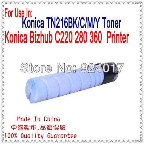Replacement Color Printer For Konica Minolta C220 Toner Cartridge,TN216BK/C/M/Y Toner For Konica C220 C280 C360 Toner K&M C220 tianse hot selling compatible color toner cartridge tn220 bk c m y used for konica minolta bizhub c221 221s 281 c7122 printer