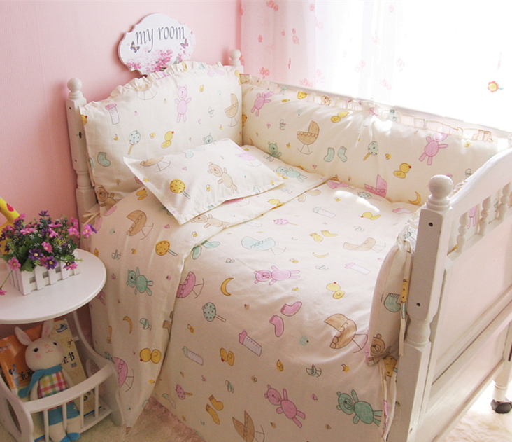 Promotion! 9PCS Whole Set Baby Bed Sheet Baby Bedding 100% Cotton Set for Newborn Super Soft Colorfu, 120*60/120*70cm