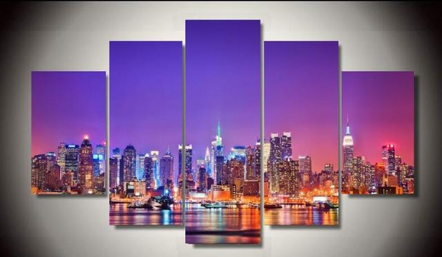 Hd printed new york city skyline poster 5 piece painting wall art room decor poster canvas