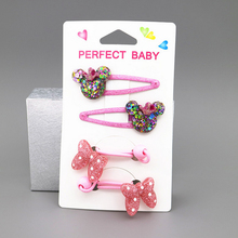 Hot 4 Pieces / Childrens Resin Hair Rope Cute Bow Rubber Band And Hairpin Set Girl  Girls Accessories