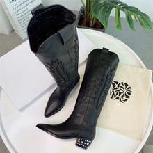 fb227d26d3 2019 neue Ankunft Bestickt Leder Knie Stiefel Spitz Kubanischen Mit Hohen  Absätzen Frauen Lange Schuhe Klassische Cowboy Stiefel
