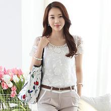 Perla blusa elegante del cordón camisa blusas de gasa femenina camisas para mujer bordada blusa de encaje femenino más tamaño blusas mujeres