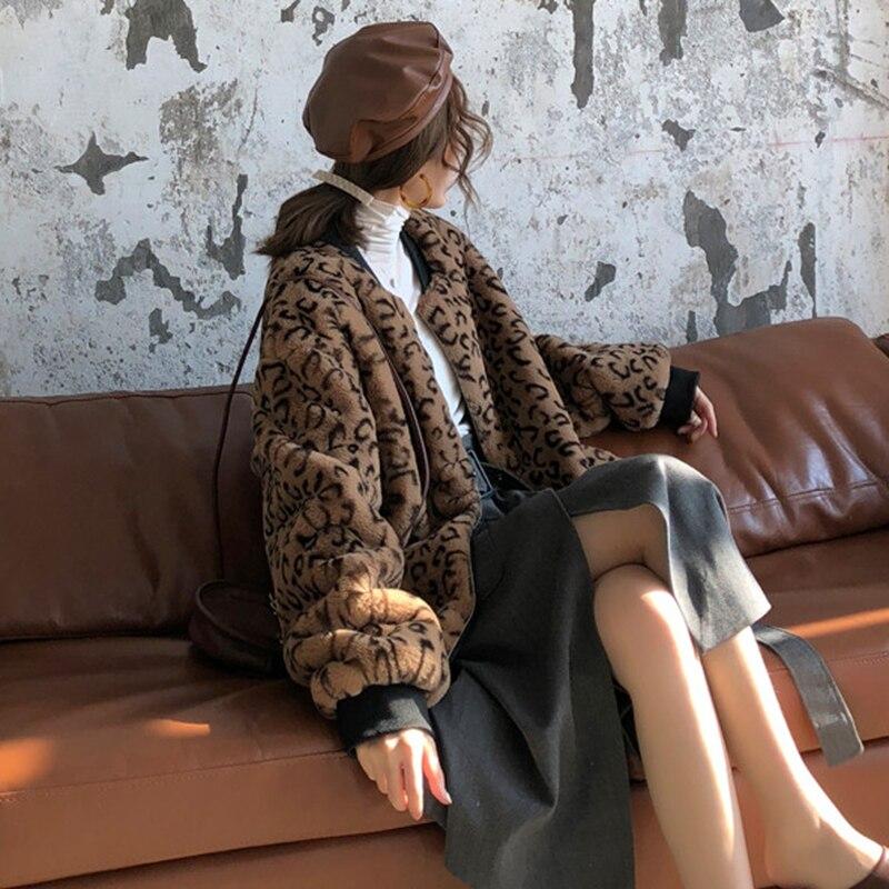 Arrivée 2018 cou Manteau De Nouvelle Veste Lâche Automne Manches Femelle Mode Épais Pleine Casual Corée Lyh1299 hg Femmes Léopard Picture See O 5AFq4x0g5