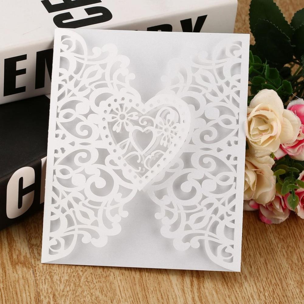 10Pcs Heart Wedding Invitation Cards Envelopes Seals Covers Wedding Decor CE