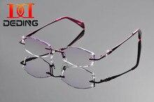 DeDing 2016 New Brand Titanium Glasses Frame Women Retro Fashion Diamond Cutting Eyeglasses Rimless Optical Frame DD1251