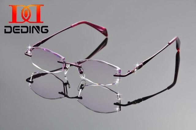 Tent DeDing 2016 nueva marca mujeres gafas de titanio marco moda Retro de corte de diamante anteojos marco óptico sin rebordes DD1251
