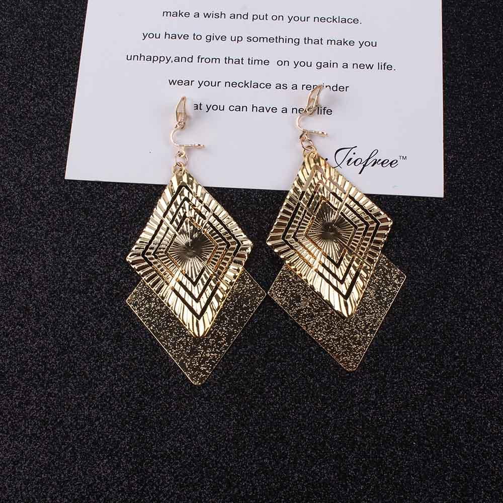 Long clip on earrings For Women square Classic Pattern Hollow Round non pierced earrings ear clips bridal women jewelry earrings