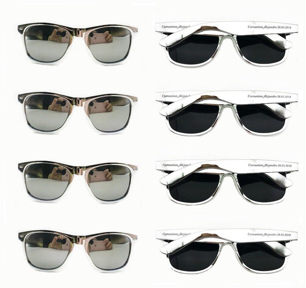 De plata a granel gafas de sol con lentes de espejo personalizado, regalos de boda para los huéspedes playa fiesta gafas de sol personalizado cumpleaños favores-in Obsequios para fiestas from Hogar y Mascotas    1