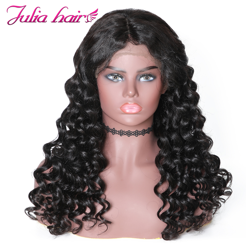 Ali Julia Hair 13 6 Bouncy Curly Lace Front Human Hair Wigs 150 Density Brazilian Hair