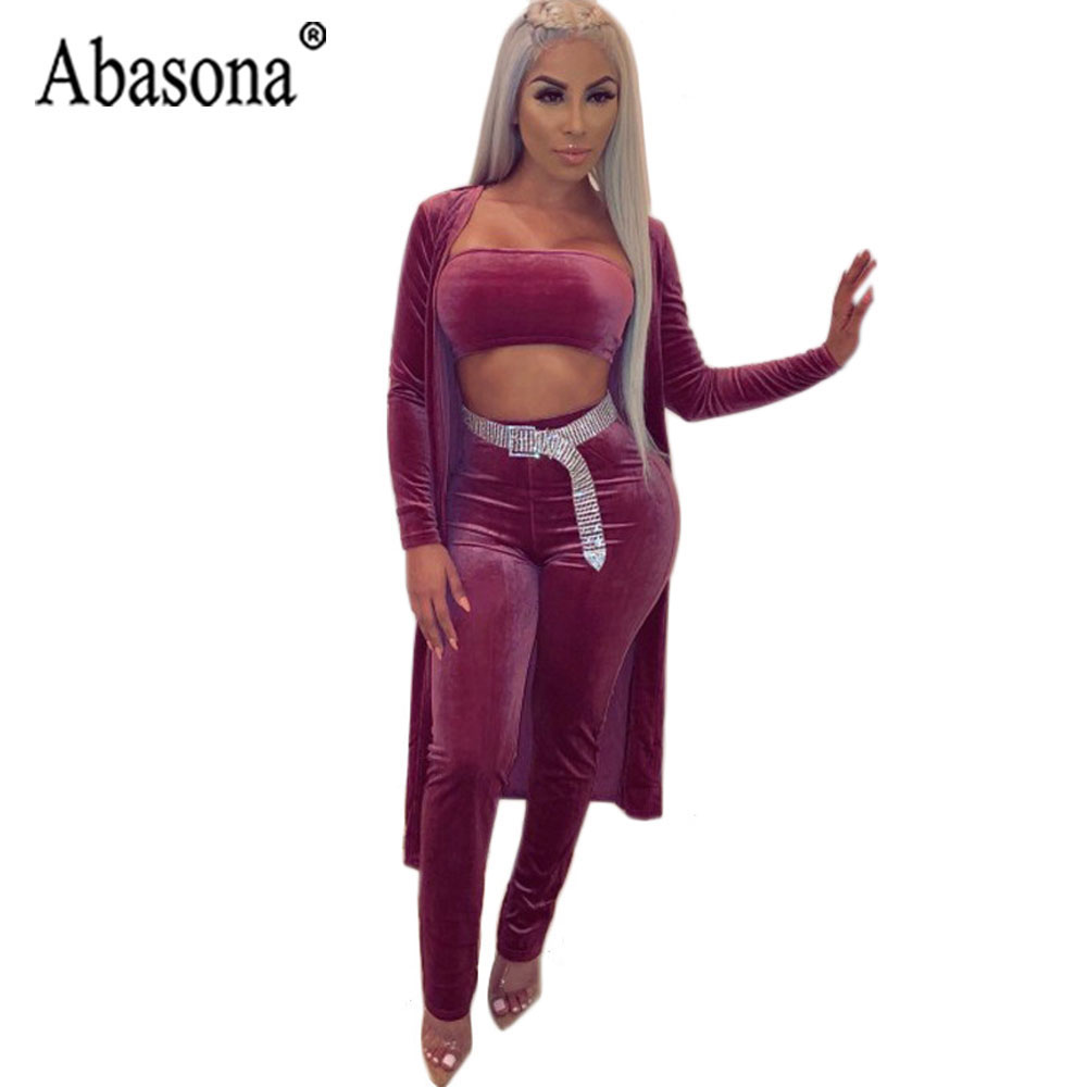 Abasona 3 Piece Sets Sexy Strapless Jumpsuit Women Long Sleeve Bodycon Rompers Womens Jumpsuit Purple Black Club Outfits No Belt