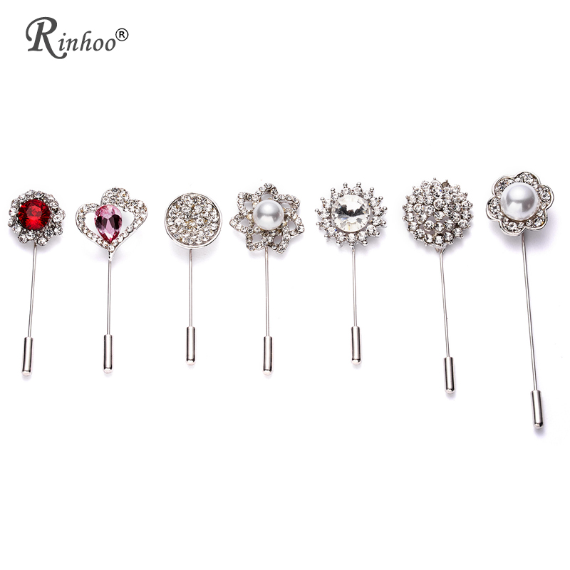 f5ba2a9cd2c1b RINHOO Vintage Silver Color Crystal Camellia Flower Men Suit Brooch Pin  Simple Ginkgo Leaves Chain Women Brooches Pins scarf Pin