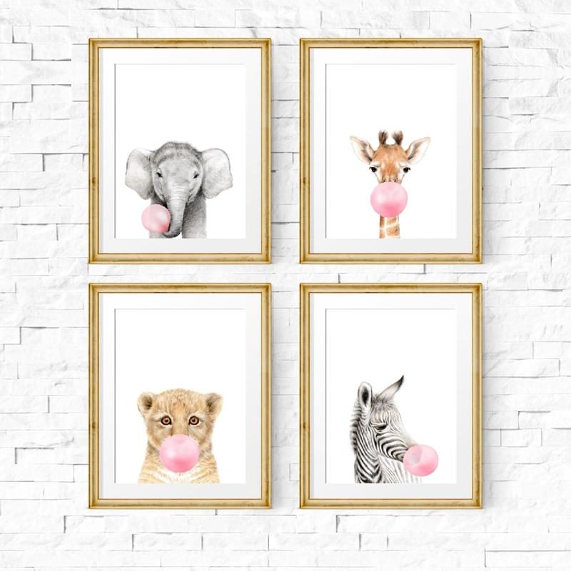 Baby Animal Tiger Pink Bubble Canvas Poster Nursery Art Print Baby Room Decor