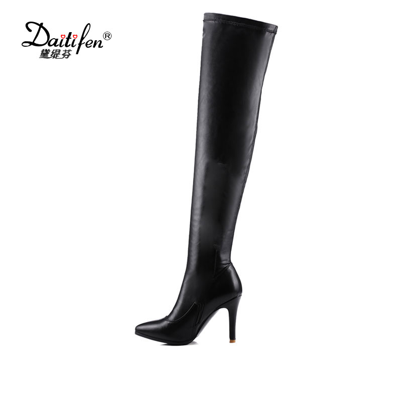 Daitifen Women Boots High Heels Thigh High Boots Winter Sexy Over Knee Boots Ladies Autumn Shoes Black White Shoes Big size 43 стоимость